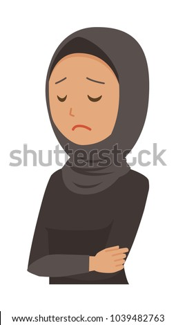 An arab woman wearing ethnic costumes is depressed