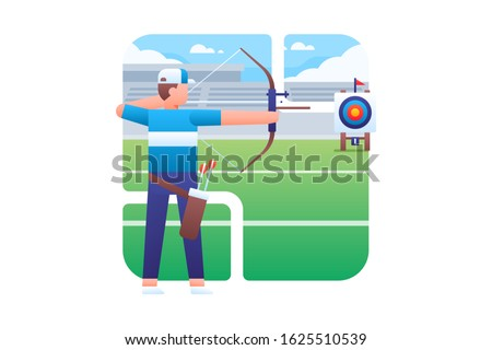 An archer is concentrating shooting an arrow to the centre of target. Archery vector illustration.