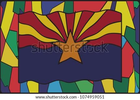 an arizona flag design on a