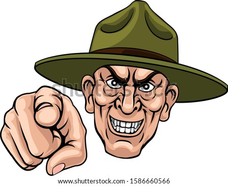 An army bootcamp drill sergeant soldier looking mean and pointing at the viewer  Stock fotó ©