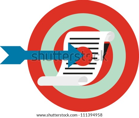 An arrow points to a document centered over a target