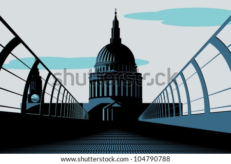 An Art Deco style illustration of St Paul's Cathedral in London as viewed from the Millennium Bridge.