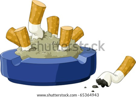 An ashtray with cigarette butts, vector illustration