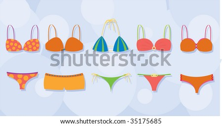 An assortment of colorful bikinis. Use them with or without the background, fully editable vector illustration.