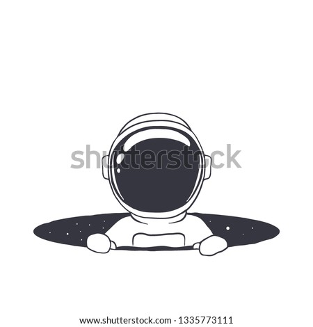 an astronaut climb out from the hole of space.Vector illustration