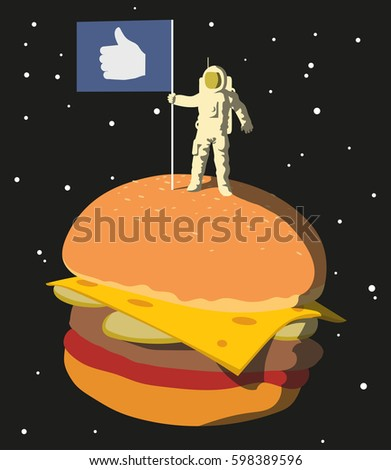 an astronaut with a flag stands