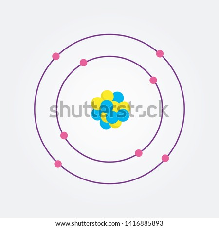 An atom vector illustration showing orbits, nucleus, protons, electrons and neutrons