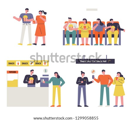 An audience character set to see a movie. flat design style minimal vector illustration Foto d'archivio ©