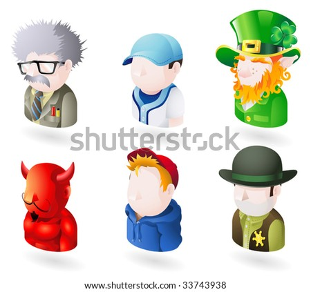 An avatar people web or internet icon set series. Includes a scientist or teacher, a baseball player, an irish leprechaun, a devil or satan, a boy or teenager in a hooded top, and a sheriff or cowboy