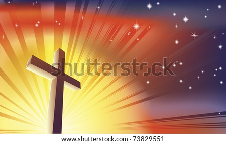 An awesome Christian cross bathed in light