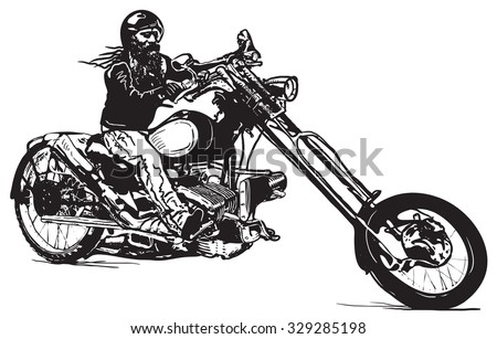 an biker on his chopper black rider an hand drawn vector illustration in the