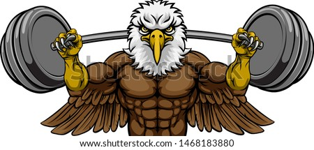 An eagle animal body builder sports mascot weight lifting a barbell