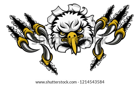 An eagle bird sports mascot cartoon character ripping through the background with its claws ot talons Photo stock ©