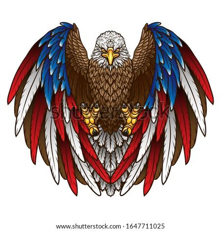 an eagle with an american flag