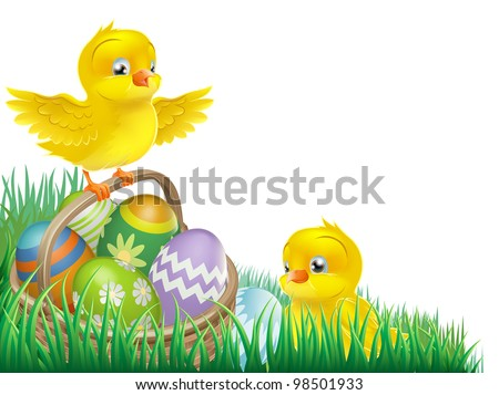 An Easter chicks and Easter egg basket isolated corner design element