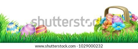 An Easter eggs basket design element background footer