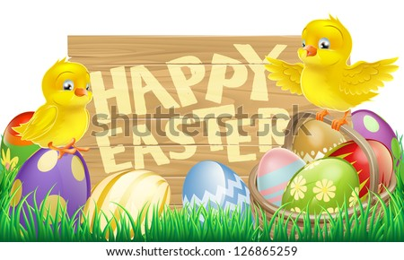 An Easter holiday sign that says Happy Easter with a basket full of Easter eggs and cute cartoon birds