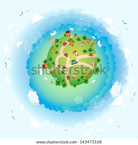 an eco illustration of earth