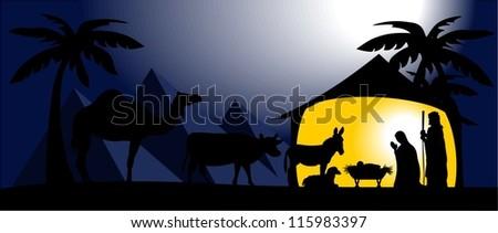 An editable Christmas nativity scene