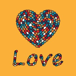 An editable vector illustration of heart shape as colorful mosaic tiles on orange background with love text