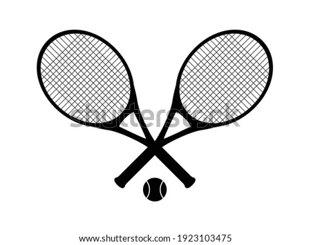 an editable vector illustration of tennis rackets as black silhouette Сток-фото ©