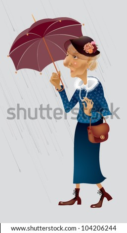an elderly lady in the rain