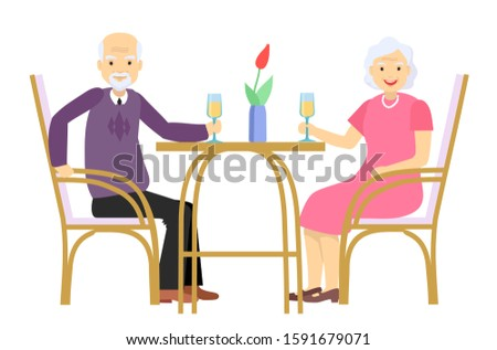 An elderly man and an elderly woman sit at the table  and drinking wine. Date and meeting in a cafe. Old couple enjoying time together. Vector flat illustration