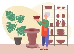 An elderly woman sculpts from clay in a workshop. Hobby concept vector illustration.