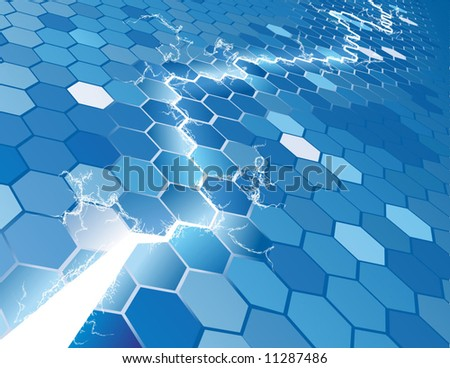 An electric hexagon background concept with lightning jumping across, arcing and lighting up hexagons