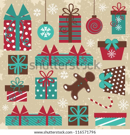 An elegant Christmas set with grungy background