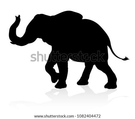 An elephant safari animal silhouette  Stock fotó ©