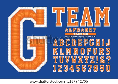 An embroidery styled 3d alphabet for team sports uniforms or university style garments
