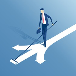 an employee stands at a crossroads and draws a new arrow is offered, a businessman chooses his own an option or a path isometric illustration, business concept choice and creativity
