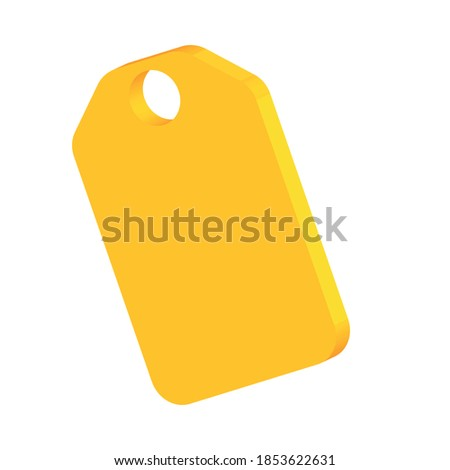 An empty tag linked by a string. Price tag, gift tag, sale, address label isolated on white background 3D render illustration