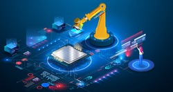 An engineer checks and controls the automation of robotic machine in an intelligent industrial plant. An automated wireless robotic arm in a smart factory assembles a microchip, cpu, new technologies