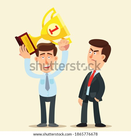 An envious person looks evilly at a successful person - winner. Friends envy and jealousy. Business vector illustration, flat design, cartoon style, isolated background. Stockfoto ©