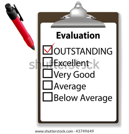 An evaluation for job performance red check mark in the OUTSTANDING box with clipboard and ink pen.