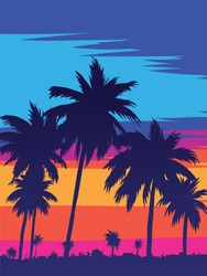 An evening on the beach with palm trees. Colorful painting for the river. Blue palm trees at sunset. Orange sunset in the blue sky. Bee. Summer sunset against the background of palm trees