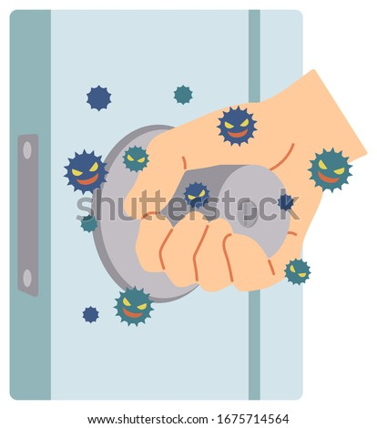 An example in which a virus is attached by touching the door knob used by everyone. Сток-фото ©