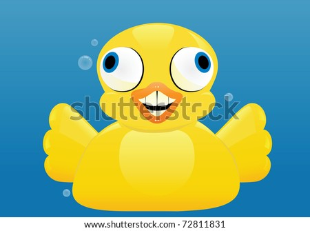 an excited rubber duck spreads