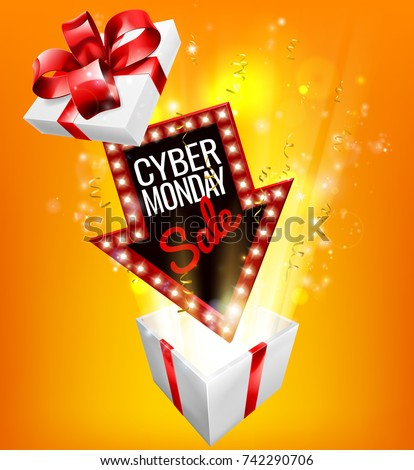 An exciting Cyber Monday Sale arrow sign exploding out of a gift box with a red ribbon bow design Stok fotoğraf ©