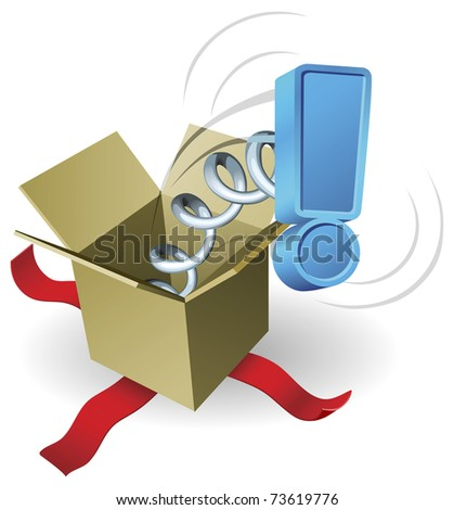 An exclamation mark springing out of a box conceptual illustration.