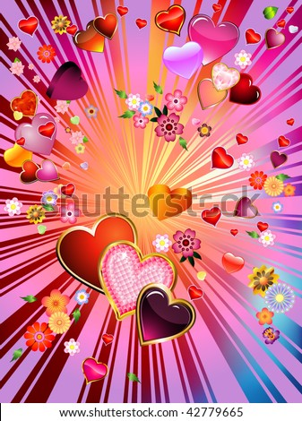 pictures of hearts and flowers. stock vector : an explosion of hearts and flowers = valentine's day!