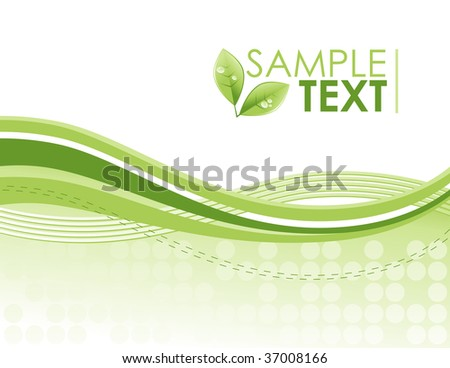 An green eco friendly wave, swirl pattern background with bright green colors. The swirls are flowing from left to right and there is a green leaf plant with water drops on it.