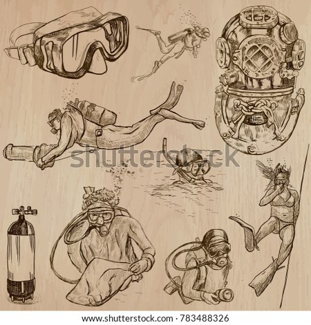 An hand drawn collection, vector pack - DIVING. Outdoor and underwater activities, Divers. Extreme and adrenaline sporting events. Diver. Line art, freehand drawing techniques.