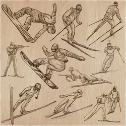 An hand drawn collection, vector pack - Sporting events - Winter sport - SNOWBOARDING, CROSS COUNTRY SKIING and SKI JUMPING. Line art technique.