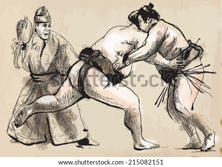 An hand drawn (converted) vector from series Martial Arts: SUMO. Sumo is a competitive full-contact wrestling sport originated in Japan, the only country where it is practiced professionally.