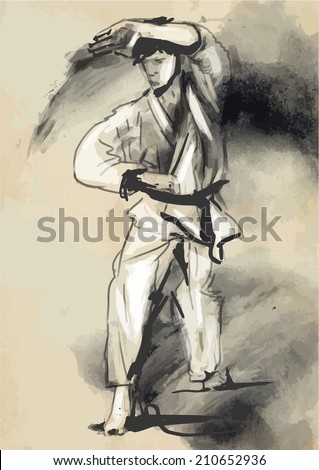An hand drawn converted vector in calligraphic style from series Martial Arts: KARATE. Karate is a martial art developed in the Ryukyu Islands (Okinawa), Japan.