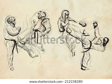 An hand drawn converted vector (in calligraphic) style from series Martial Arts: TAEKWON-DO (is a Korean martial art. It combines combat and self-defense techniques with sport and exercise).