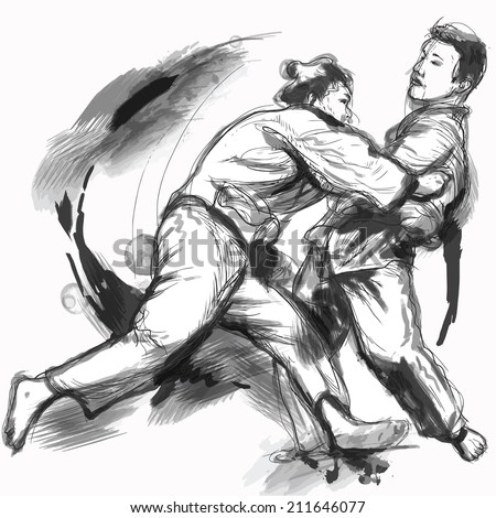 An hand drawn illustration (converted into vector) from series Martial Arts: JUDO. Judo is a modern martial art and combat sport created in Japan in 1882.